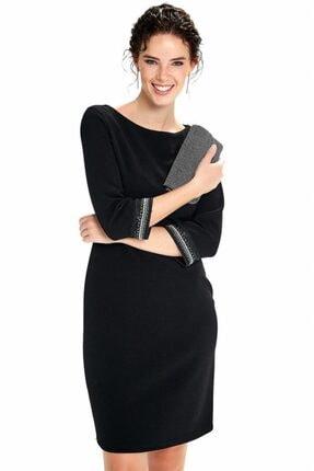 İkiler Kadın Siyah Beli Kesikli Kolu Boncuk Şeritli Elbise 190-4030