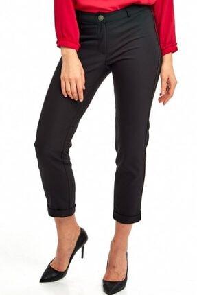 İkiler Kadın Siyah Yanları Şeritli Paçası Katlamalı Pantolon 190-3516