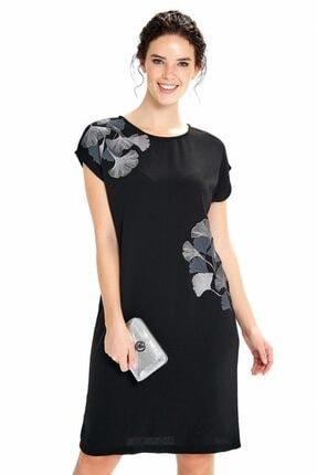 İkiler Kadın Siyah Düşük Kol Önü Baskılı Elbise