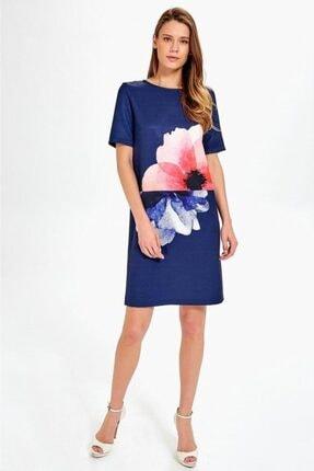 İkiler Kadın Lacivert Önü Çiçek Baskılı Kısa Kol Elbise 019-03-4055