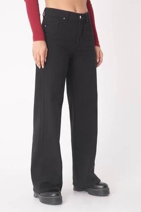 Addax Kadın Siyah Bol Paça Pantolon Pn4363 - Pnt ADX-0000023402