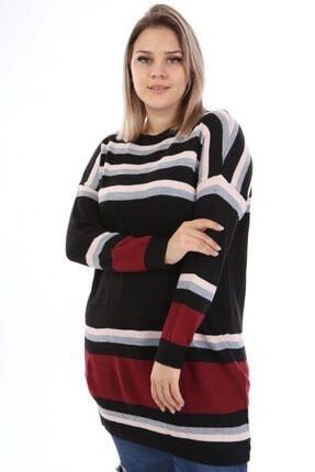 Big Free Tb21kb112237 Siyah Kadın Renkli Çizgili Triko Elbise