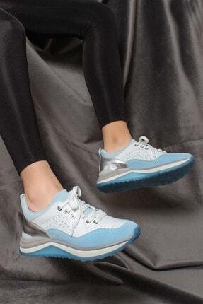 Fast Step Hakiki Deri Mavi Beyaz Kadın Sneaker Ayakkabı 009za980