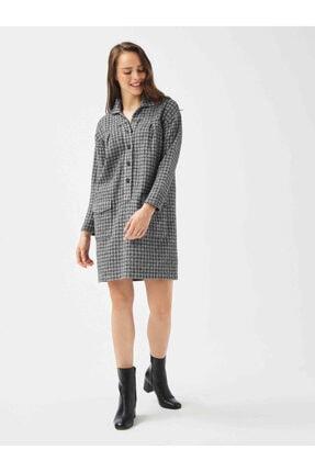 XINT Xınt Polo Yaka Rahat Kesim Ekoseli Elbise