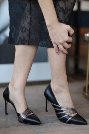 Mio Gusto Lily Gümüş Bantlı Siyah Stiletto