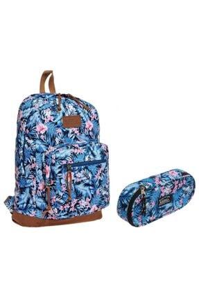 KAUKKO Safari Çiçek Desenli Sırt Çantası Ve Kalemlik Okul Mavi