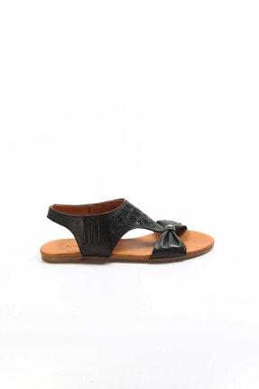 Fast Step Hakiki Deri Siyah Kadın Klasik Sandalet 763za052
