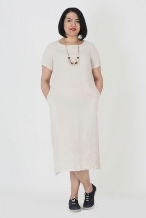 Günay Kadın Elbise Lm74380 Ilkbahar Yaz O Yaka Spor Keten-bej