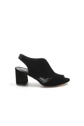Fast Step Siyah Süet Kadın Kısa Topuklu Ayakkabı 917za703
