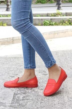 Fast Step Hakiki Deri Kırmızı Kadın Loafer Ayakkabı 916za1221