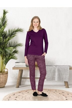 Jiber 3661 Kadın Modal Pijama Takımı - Mor