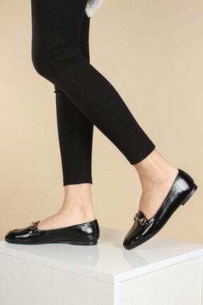 Fast Step Hakiki Deri Siyah Kırışık Kadın Babet Ayakkabı 064za3003