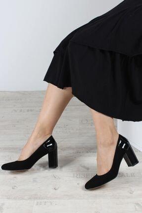 Fast Step Hakiki Deri Siyah Süet Rugan Kadın Kalın Topuklu Ayakkabı 064za771