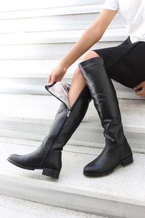 Fast Step Hakiki Deri Siyah Kadın Klasik Çizme 064sza1556