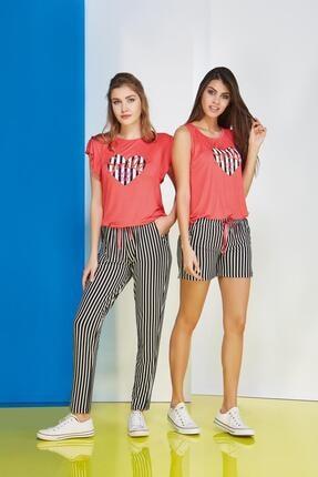 PJS PİJAMA Kalp Baskılı Bayan Pantolon 2 Li Takım 20660