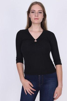 Cotton Mood 9362911 Kaşkorse Göğüs Ortası Halkalı Uzun Kol Bluz Sıyah
