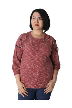 Günay Kadın Bluz Nly8126 Sonbahar Kış O Yaka Omuz Detay-kırmızı