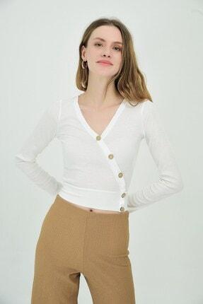 Cotton Mood 9092935 Kaşkorse Kruvaze Düğmeli Uzun Kol Bluz Ekru