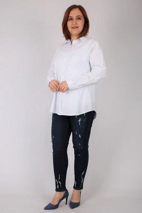 Günay Kadın Gömlek Rg6925 Mevsimlik Cotton Spor Fit-beyaz