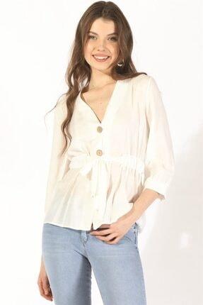 Twister Jeans Kadın Bluz Bayan Düğmeli Belden Bağlama Bluz 19078 Beyaz
