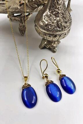 DR Stone Dr Stone Harem Koleksiyonu Kedigözü Taşı El Yapımı 925 Ayar Gümüş Set Gdr6