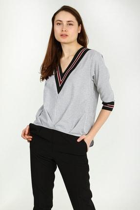 Collezione Beyaz Kadın Çizgili Truvakar Kol Bluz