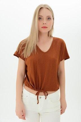Cotton Mood 9112933 Raşel Eteği Kordonlu V Yaka Yarasa Kol Bluz Tarçın