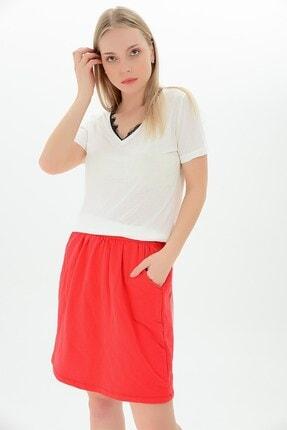 Cotton Mood 9111494 Süprem V Yaka Yakası Dantelli Kısa Kol Bluz Beyaz