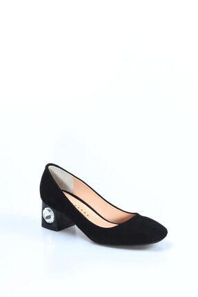 Fast Step Hakiki Deri Siyah Süet Kadın Kısa Topuklu Ayakkabı 064za975