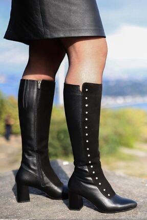 Fast Step Kadın Çizme 064sza542 Siyah Deri Siyah Suet