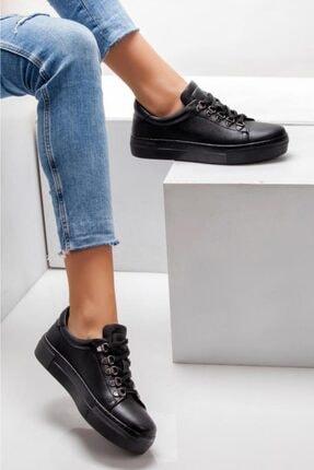 Deripabuc Hakiki Deri Siyah Kadın Deri Sneaker Trc-0680