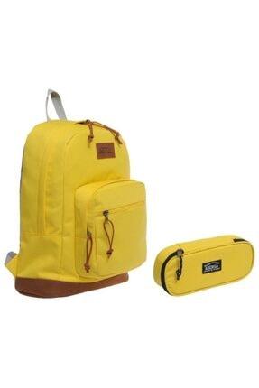KAUKKO Sport Sırt Çantası Ve Organizer Kalemlik Sarı