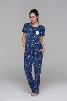 PJS PİJAMA 21495 Kadın Kısa Kollu Patlı Pijama Takım