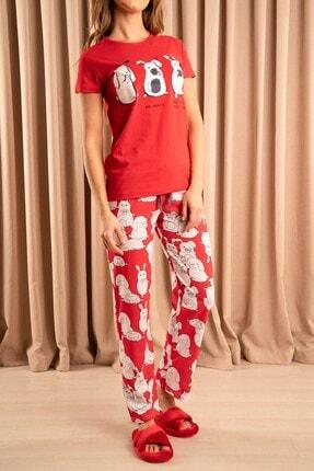 Hadise Tavşan Baskılı Pijama Takımı Kırmızı