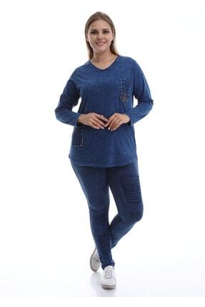 Günay Kadın Bluz Sws3048 Mevsimlik V Yaka Ön Detay Pamuk-lacivert