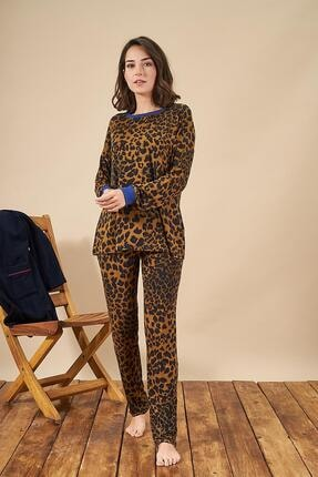 PJS PİJAMA 21881 Kadın Yuvarlak Yaka Leopar Desenli Pijama Takım
