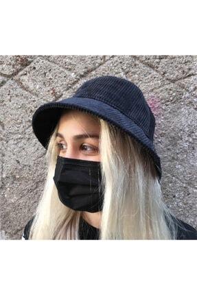 Köstebek Kadife Siyah Renk Bucket Şapka