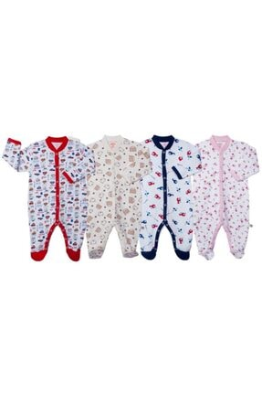 Sevi Bebe Desenli Pijama Tulum(4 Lü Seri)