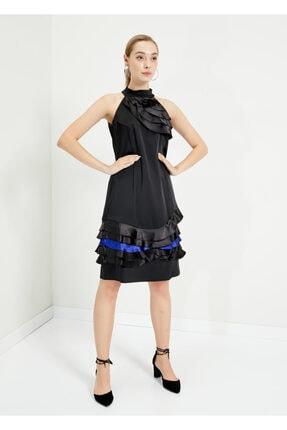 Cazador Kadın Siyah Asimetrik Kol Elbise