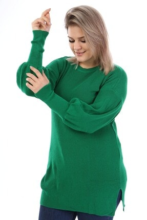 Big Free Tb21kb372082 Yeşil Kadın Balon Kol Uzun Kazak