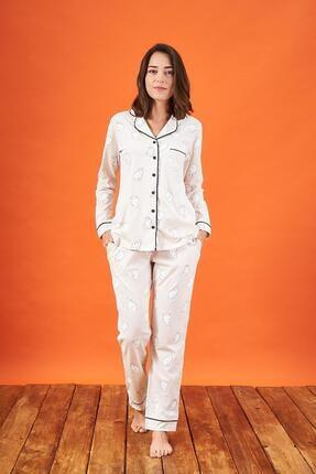 PJS PİJAMA 21810 Kadın Düğmeli Desenli Yakalı Pijama Takım