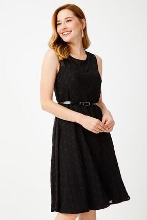 Ekol Kadın Siyah Puan Desenli Elbise