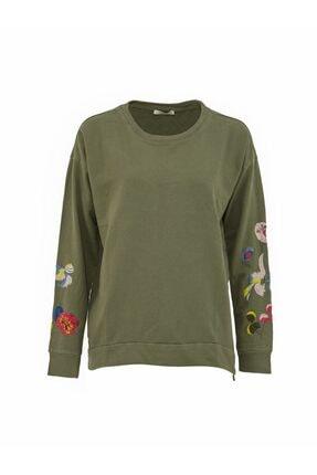 LTB Kadın Kolu Nakışlı Yeşil Sweatshirt