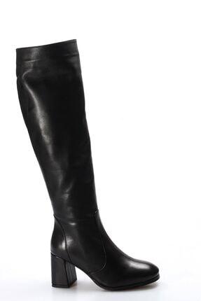 Fast Step Kadın Siyah Hakiki Deri Kürklü Klasik Çizme 824yza20317