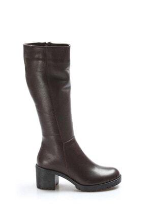 Fast Step Kadın Kahverengi Hakiki Deri Kalın Topuklu Çizme 407kza2110