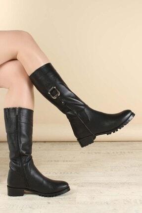 Fast Step Hakiki Deri Kürklü Siyah Kadın Klasik Çizme 064yza1015