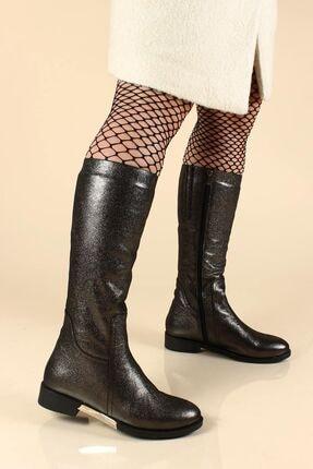 Fast Step Kadın Gri Hakiki Deri Kürklü Çelik Saten  Klasik Çizme 064kza1001