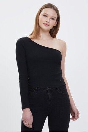 Loft Kadın Slim Fit Tek Kol Siyah Bluz Lf2023461