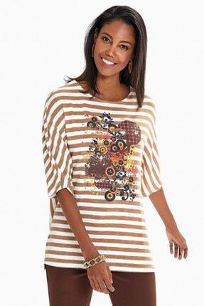 İkiler Kadın Camel Ekru Önü Baskılı Yarasa Kol Çizgili Bluz