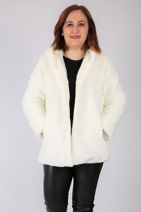 Günay Kadın Kaban Ynts2027 Sonbahar Kış Kürk Peluş Kapüşon-beyaz